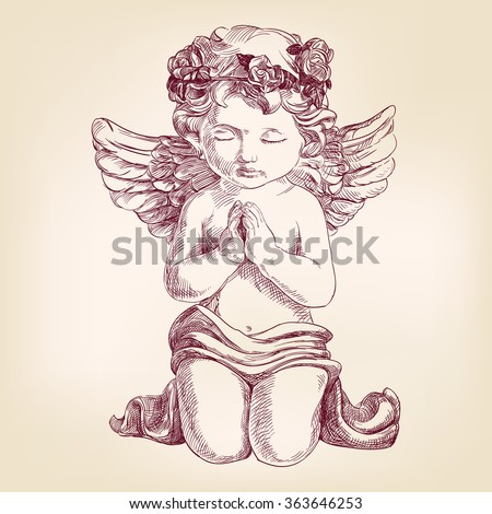 angel prays on his knees hand drawn vector llustration  realistic  sketch - stock vector