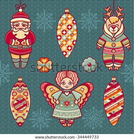 Angel, reindeer, Santa Claus, snowflake, ball. Set of color Christmas toys. Holiday decorations. Template for design. New Year decoration. Cut the paper. Pattern toy.  Christmas background - stock vector