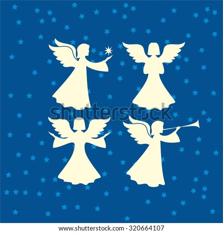 Angel silhouettes - stock vector