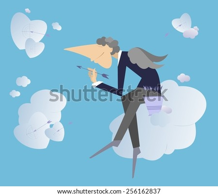 Angel sits on the cloud and throws darts to hearts - stock vector