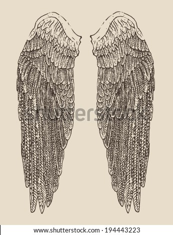 angel wings illustration, engraved style, hand drawn, sketch - stock vector