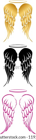 Angel Wings in Three Different Formats - stock vector