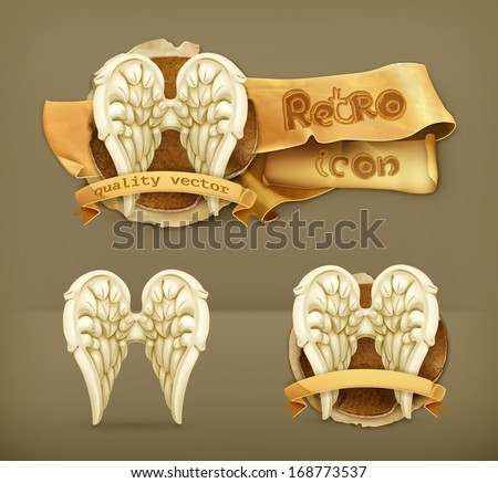 Angel wings, vector icon - stock vector