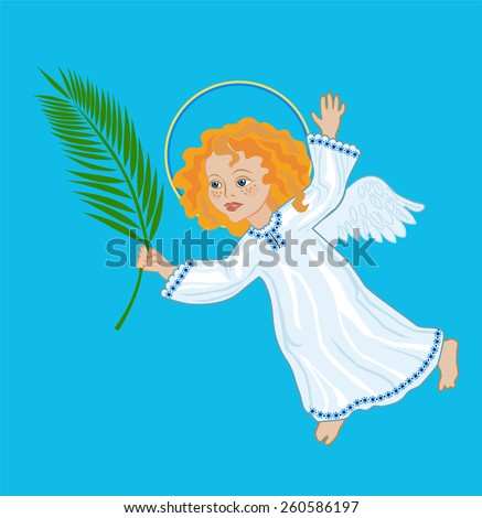 Angel with a palm branch, symbolic image of Palm Sunday, the victory over death - stock vector