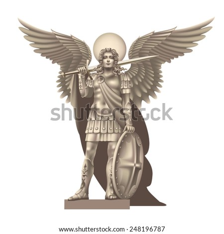 Angel with a sword on a white background - stock vector