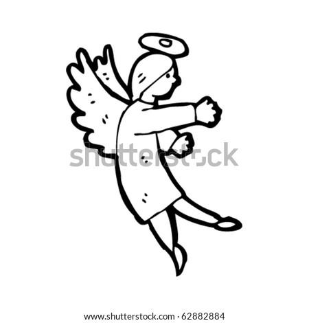 angel with halo cartoon - stock vector