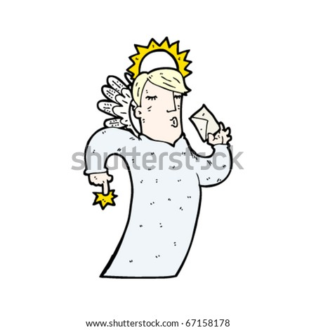 angel with letter cartoon - stock vector