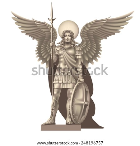 Angel with spear on white background - stock vector