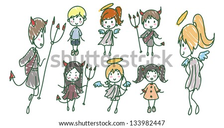 Angels and Devils - stock vector