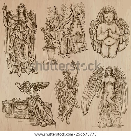 ANGELS. Collection of an hand drawn illustrations (vectors - pack no.1). Each drawing comprises of two or three layers of outlines, the colored background is isolated. - stock vector