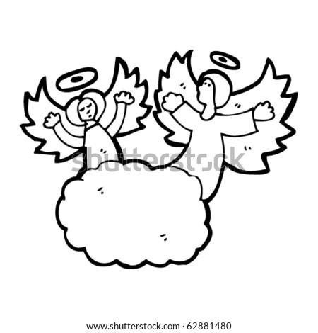 angels on cloud cartoon - stock vector