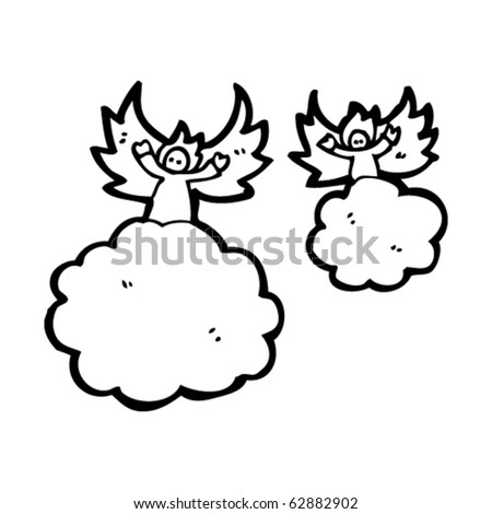 Angels on clouds cartoon - stock vector