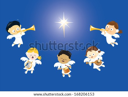 Angels singing and playing instruments - stock vector