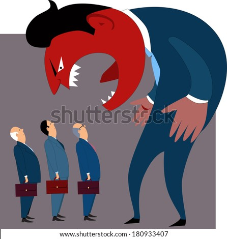 Anger management problems. Crazy mad boss yells at employees, conceptual vector illustration - stock vector