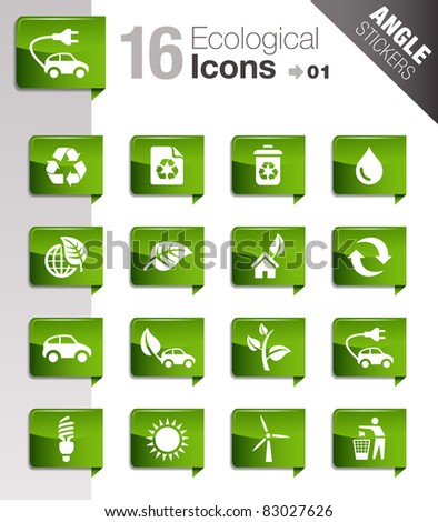 Angle Stickers - Ecological Icons - stock vector