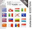 Angle Stickers - European Flags - stock vector