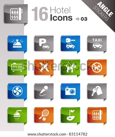 Angle Stickers - Hotel icons - stock vector