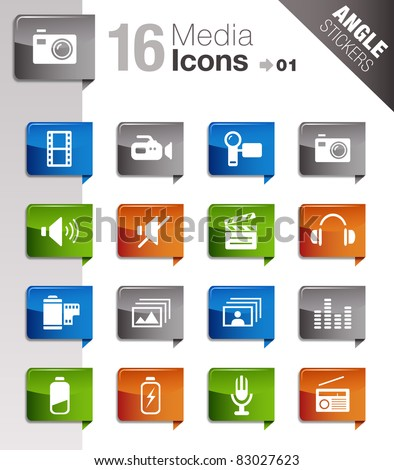 Angle Stickers - Media Icons - stock vector