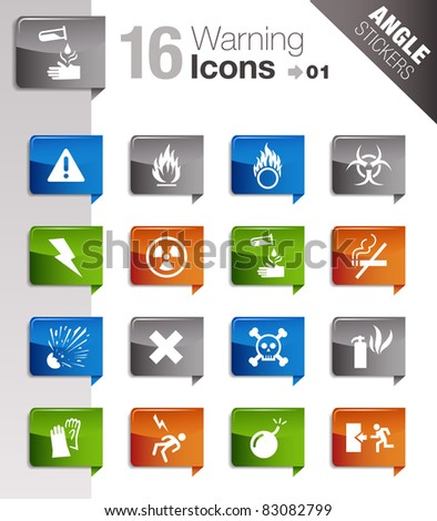 Angle Stickers - Warning And Danger Icons - stock vector
