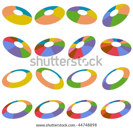 Angled wheel charts isolated on a white background. - stock vector