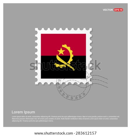Angola Flag Postage Stamp on white background. Vector illustration. - stock vector
