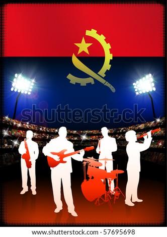 Angola Flag with Live Music Band on Stadium Background Original Illustration - stock vector