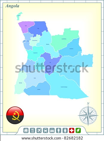 Angola Map with Flag Buttons and Assistance & Activates Icons Original Illustration - stock vector