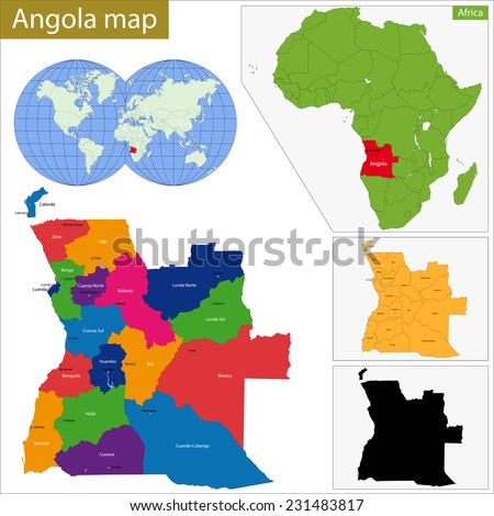 Angola map with high detail and accuracy and it is divided into provinces which are colored with different bright colors - stock vector