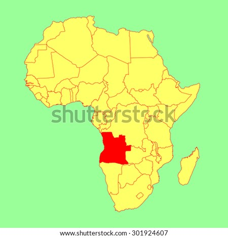 Angola vector map isolated on Africa map. Editable vector map of Africa. - stock vector