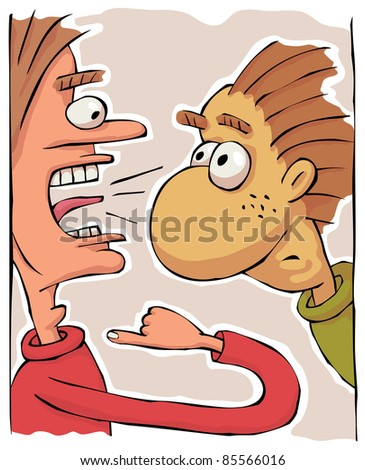 Angry arrogant man is shouting at another calm man - stock vector