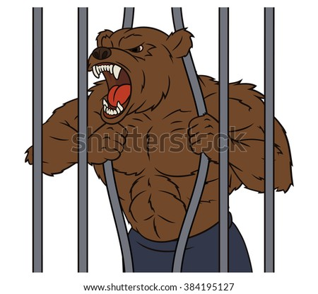 Angry bear in cage 2 - stock vector
