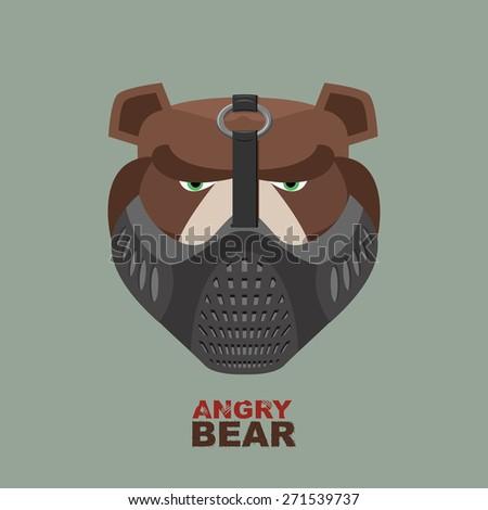 Angry bear in mask. A ferocious wild animal - stock vector