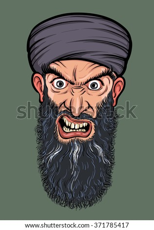 angry bearded man in turban - stock vector