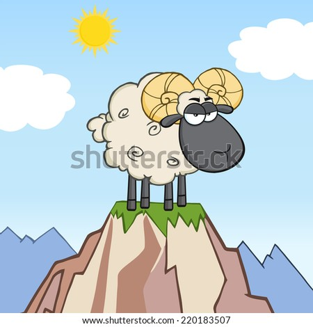 Angry Black Head Ram Sheep Cartoon Mascot Character On Top Of A Mountain - stock vector