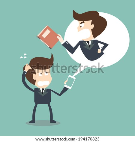 Angry boss in his mobile phone businessman - stock vector