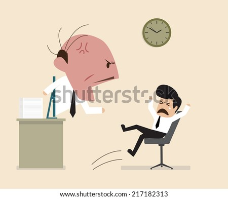 Angry Boss is shouting to his employee via online connection - stock vector