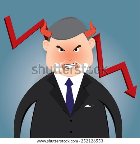 Angry boss of falling down chart, cartoon business concept vector - stock vector