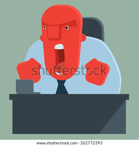 Angry boss shouting - stock vector
