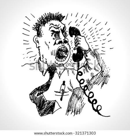 Angry boss shouting into the ancient phone. Vector cartoon in engraved style - stock vector