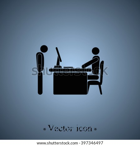 Angry boss with employee. Flat icon. - stock vector