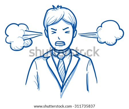 Angry business man with steam coming out of the ears, concept for stress, burnout, headache, too much work, hand drawn doodle vector illustration - stock vector