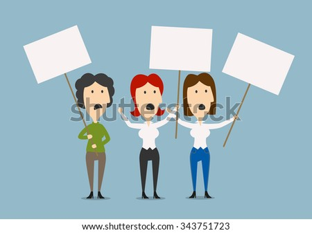 Angry businesswomen protesting on the picket with blank banners, for strike and protest themes design. Cartoon flat image - stock vector