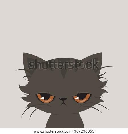 Angry cat cartoon. Cute grumpy cat, vector. - stock vector