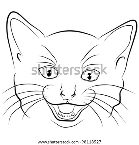 angry cat - head on a white background , vector illustration - stock vector