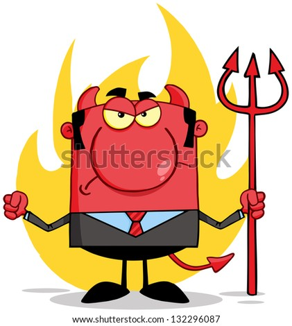 Angry Devil With A Trident  In Front Of Flames - stock vector