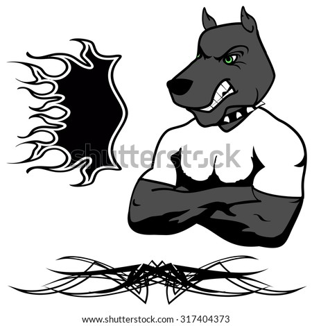 angry dog muscle cartoon set in vector fromat very easy to edit - stock vector