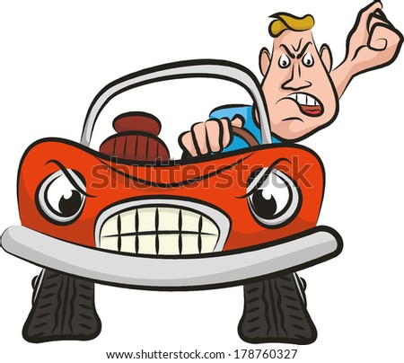 angry driver - aggression on the road - stock vector