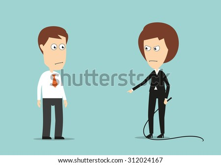 Angry female boss with whip training lazy employee, for stress or violence at work concept design. Cartoon flat style - stock vector