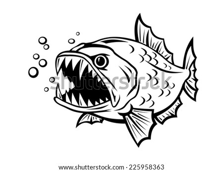 Angry fish in cartoon style isolated on white background - stock ... | 450 x 346 jpeg 27kB