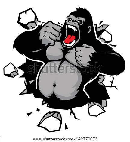 angry gorilla breaking the wall - stock vector